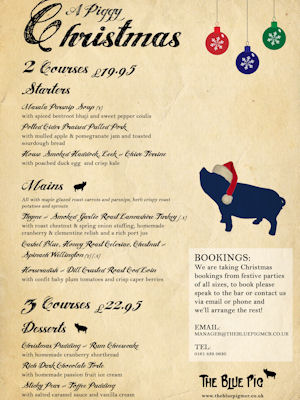 Christmas In Manchester Restaurants - The Blue Pig
