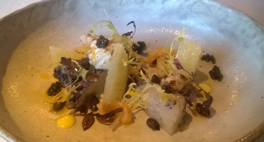 James Martin Manchester - Ink-poached cod, Charred squid, Carelian Caviar, Vietnamese mint